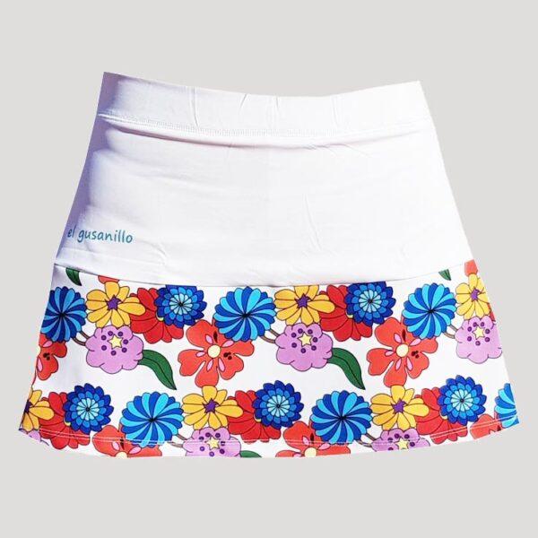 falda de pádel o tenis con flores